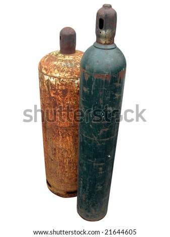 Isolated gaz bottles - stock photo