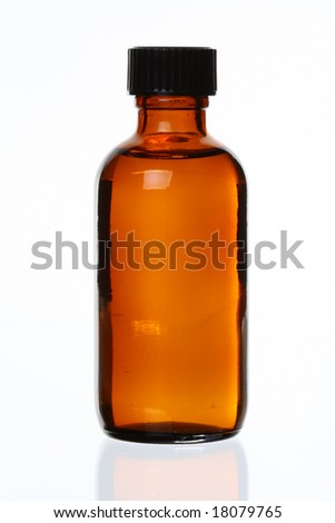 Isolated Generic Brown Glass Bottle, Against White, Bit of Reflection
