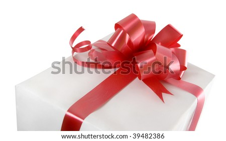 isolated gift with red bow