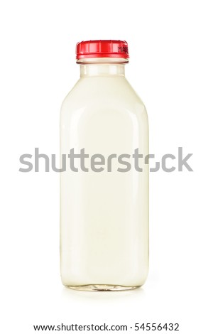 Isolated glass bottle of nutritious white milk - stock photo