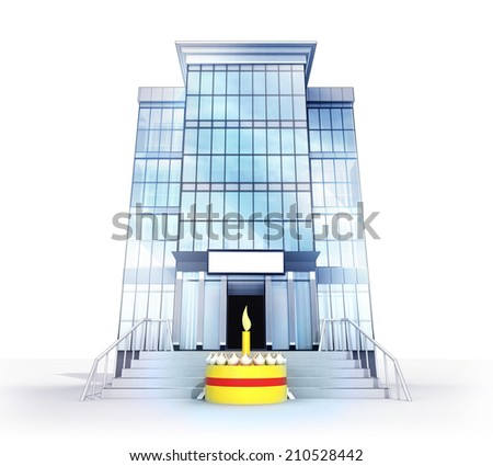 isolated glass building with bell symbol concept  illustration - stock photo