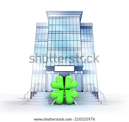 isolated glass building with joy symbol concept  illustration - stock photo
