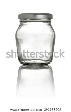 Isolated glass jar with lid on a white background - stock photo