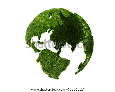 isolated globe covered with grass on white background - stock photo