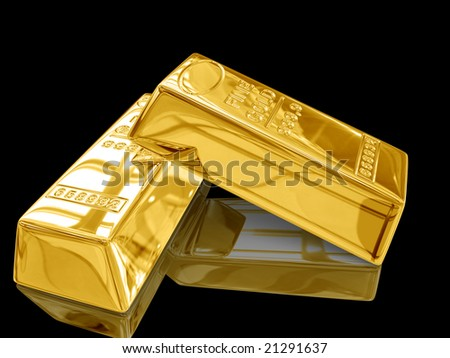 Isolated gold bars on black background. - stock photo