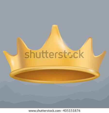 Isolated gold crown - stock photo
