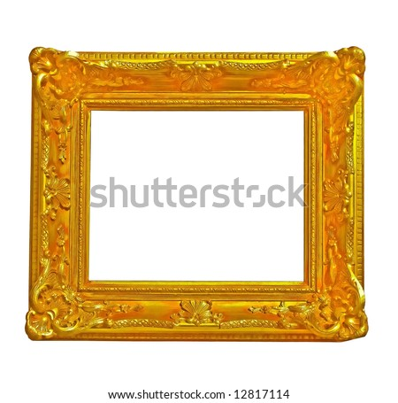 isolated gold frame in baroque style as decoration