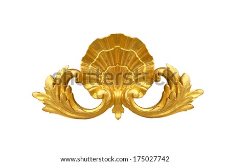 Isolated gold shell  detail   golden gates to Versailles castle. France. - stock photo