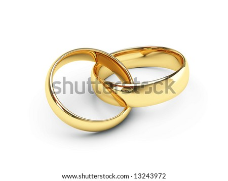 isolated gold wedding rings - stock photo