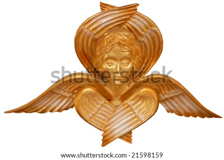 isolated golden angel figurine church decoration - stock photo