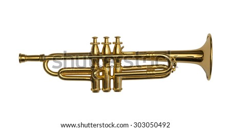 Isolated golden trumpet - stock photo