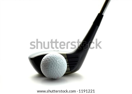 Isolated Golf Ball and Club