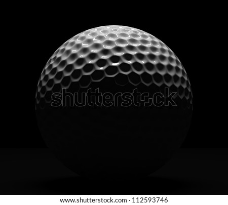 Isolated golf ball on dark background with illumination from top - stock photo