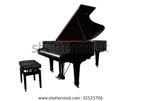 isolated grand piano and regulated black bench with clipping path - stock photo