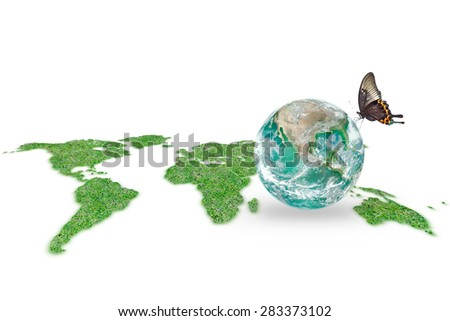 Isolated grass land world map and clear green planet with butterfly on white background: World healthy environment and hydrography concept :Elements of this image furnished by NASA - stock photo