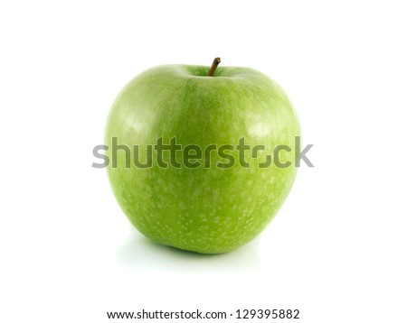 Isolated green apple (white background). Fresh diet fruit. Healthy fruit with vitamins.