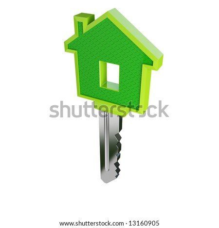 isolated green eco house key01 - stock photo
