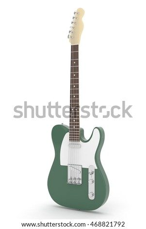Isolated green electric guitar on white background.  Musical instrument for rock, blues, metal songs. 3D rendering.