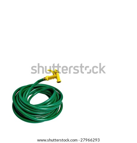 Isolated green garden hose with yellow nozzle - stock photo