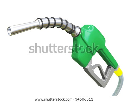 Isolated Green Gas Pump Nozzle