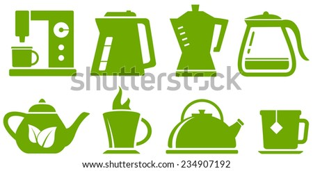 isolated green set with percolator, teapot and cup - stock photo