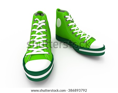 isolated green sneakers.