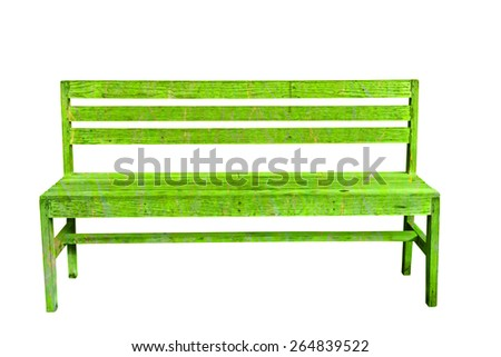 Isolated green vintage bench with clipping path - stock photo