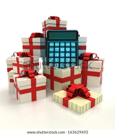 isolated group of christmas gift boxes with business calculator revelation illustration