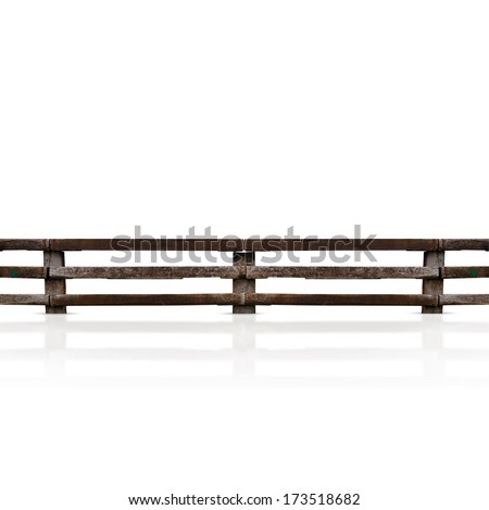 isolated grunge wooden fence - stock photo