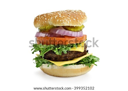Isolated Hamburger over a white background. Clipping path included.