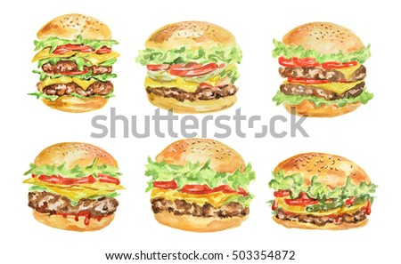 Isolated hamburger set on white background. Fresh and delicious hamburgers with tomatoes, lettuce, meat and sauce. Watercolor art.
