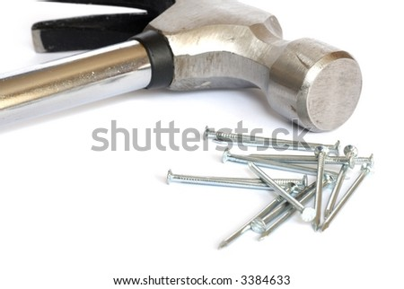 Isolated hammer and nails