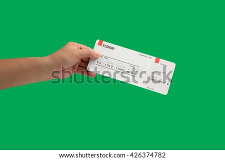isolated hand holding Airline boarding pass tickets - stock photo