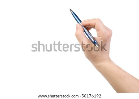 isolated hand holding blue pen
