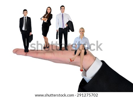 Isolated hand holding business team - stock photo