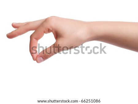 Isolated hand holding object - stock photo