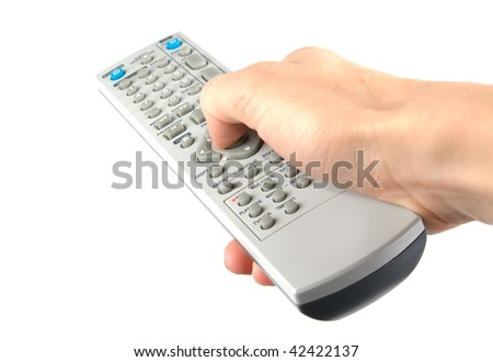Isolated hand holding remote control. White background