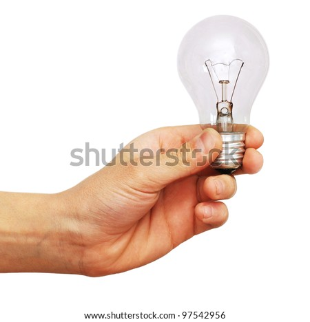 isolated hand holding unlit light bulb over white background