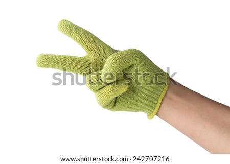 isolated hand in glove, number two, sign of victory - stock photo