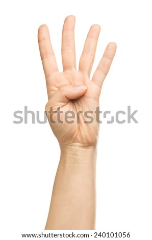 isolated hand, number four - stock photo