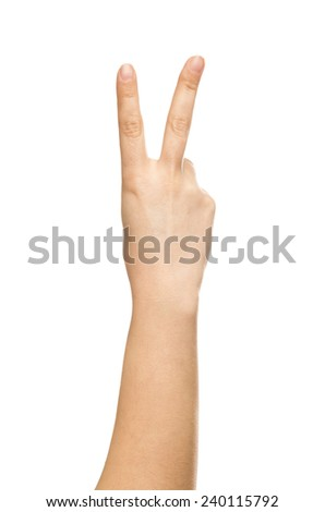 isolated hand, number two, sign of victory  - stock photo