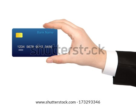 isolated hand of a businessman holding a credit card - stock photo