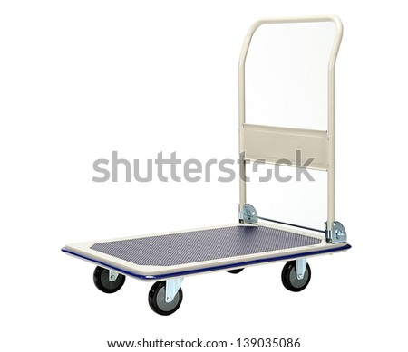 isolated hand truck on white background - stock photo