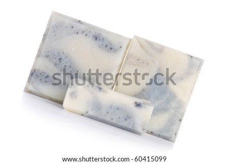 Isolated handmade soap on white background. It made up by natural herb.