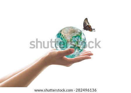 Isolated hands holding green planet with butterfly on white background : World environment hydrography concept: Elements of this image furnished by NASA   - stock photo