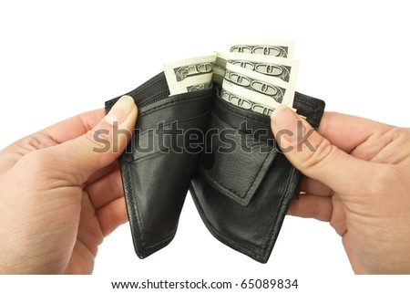 isolated hands opening slightly a purse with a money on a white backround