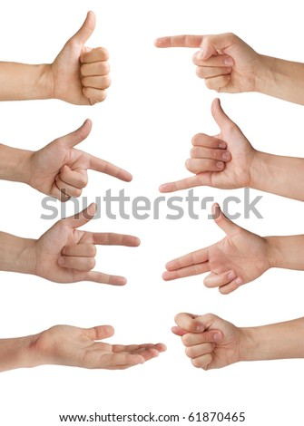 isolated hands with various gestures - stock photo