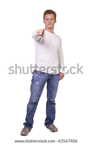 Isolated Handsome and stylish young man pointing finger