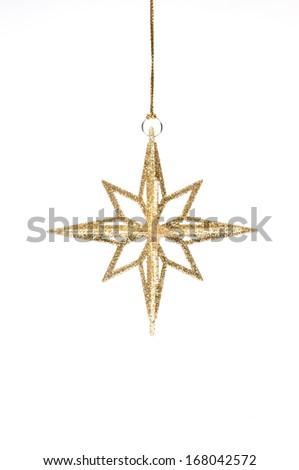 isolated hanging golden glitter christmas decoration - stock photo