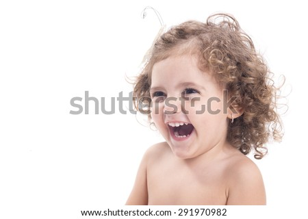 Isolated happy female children smiling over white background